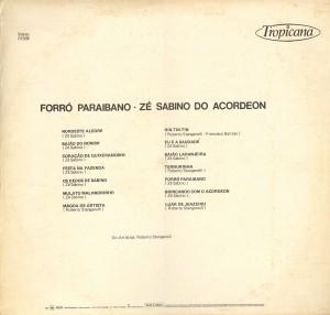Contra capa do disco forró paraíbano de Zé Sabino