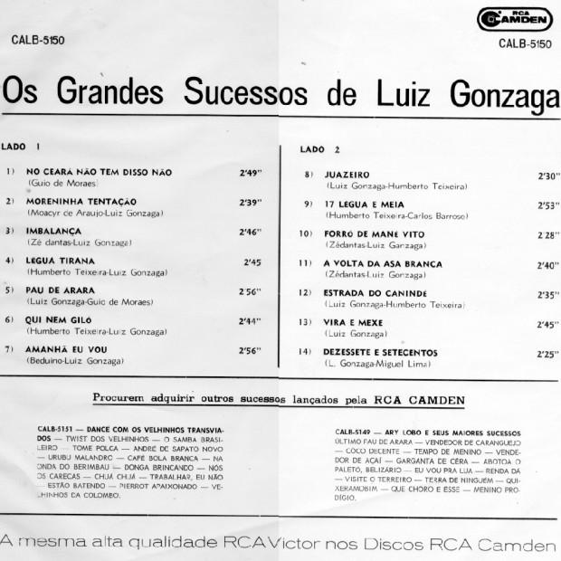 OS GRANDES SUCESSOS DE LUIZ GONZAGA - Capa Traseira