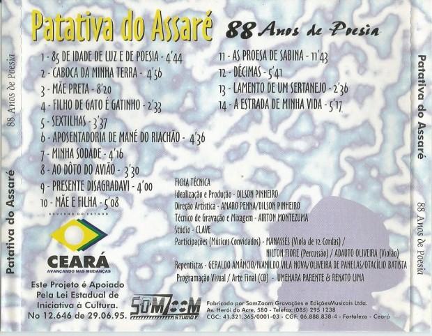 Verso do cd