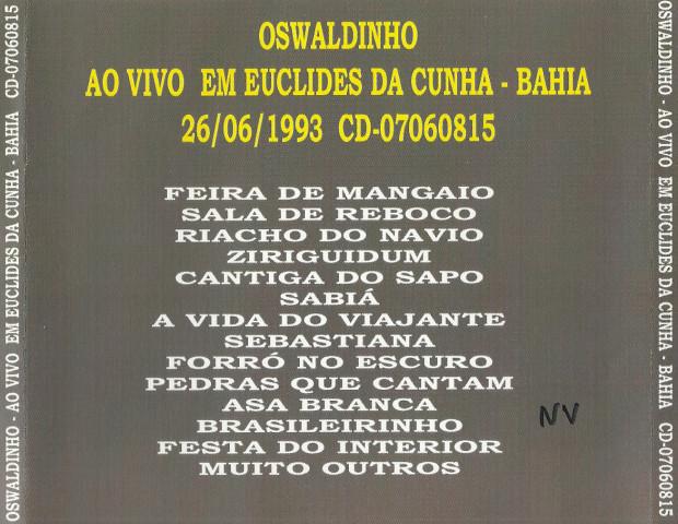 Ao vivo em Euclides da Cunha - verso cd