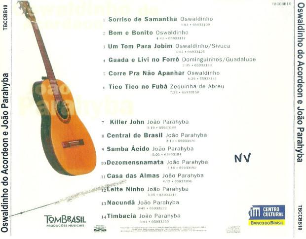 Oswaldinho & João Paraíba - verso cd