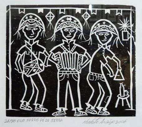 Trio de Forró - xilogravura de Nonato Araújo