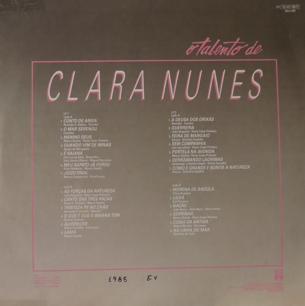 O talento de Clara Nunes - verso
